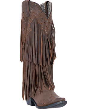 Laredo Women's Fringe Motion Western Boots, Brown, hi-res