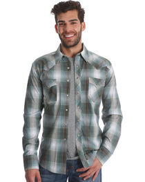 Wrangler Men's Teal Retro Long Sleeve Shirt - Tall, , hi-res