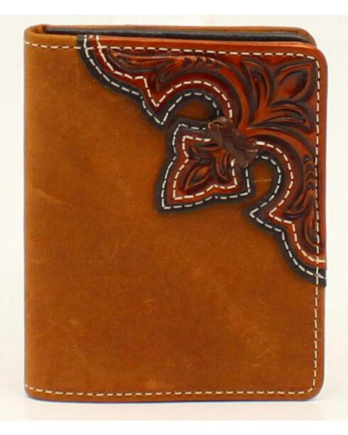 Nocona Scroll Flip Case Bi-fold Wallet, Med Brown, hi-res