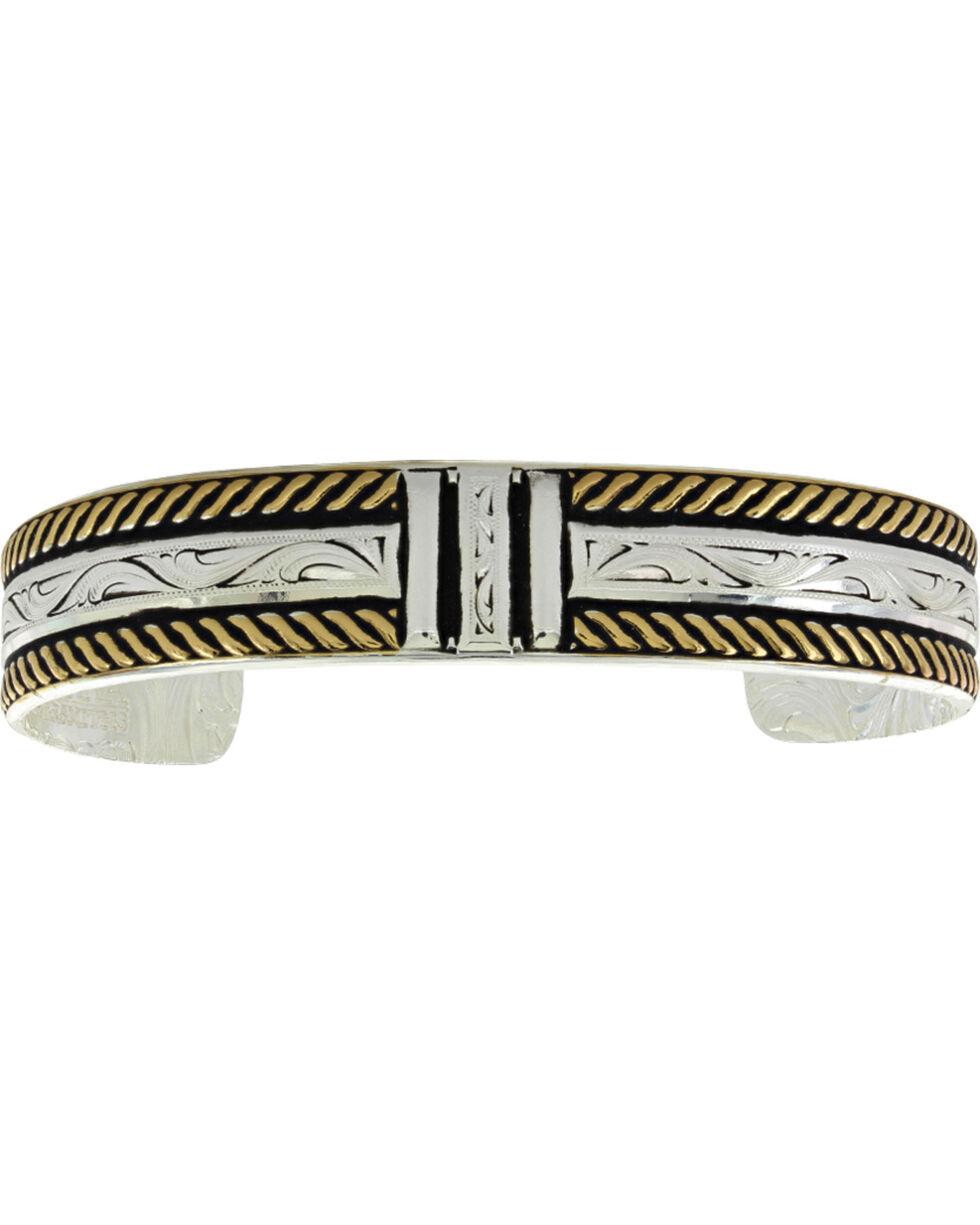 Montana Silversmiths Two Tone Three Bar Cuff Bracelet , Silver, hi-res