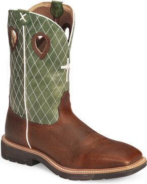 Twisted X Men's Lite Square Toe Work Boots, Cognac, hi-res