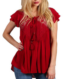 Shyanne® Women's Red Crochet Lace Babydoll Top , , hi-res