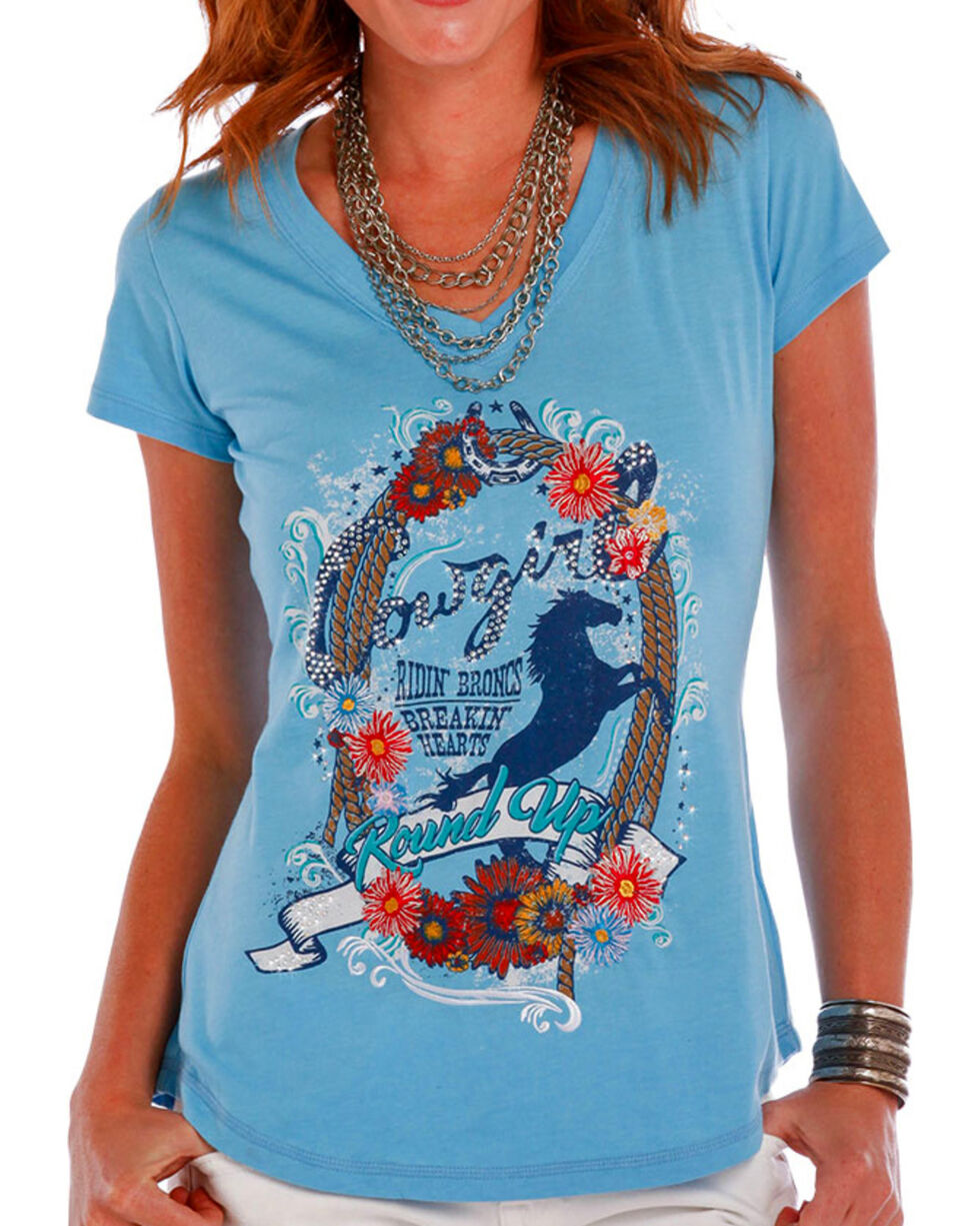 Panhandle Women's Round Up Cowgirl T-Shirt, Blue, hi-res