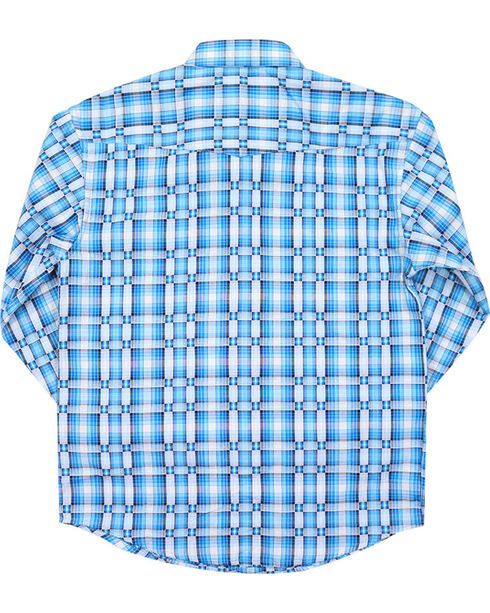 Panhandle Boys' Plaid Long Sleeve Plaid Print Western Shirt, Turquoise, hi-res