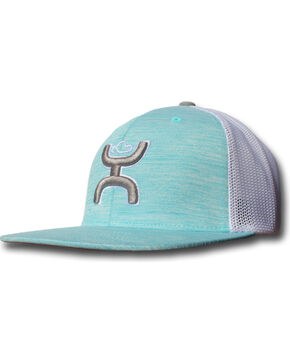 HOOey Men's Embroidered Logo Snapback Trucker Cap, Turquoise, hi-res