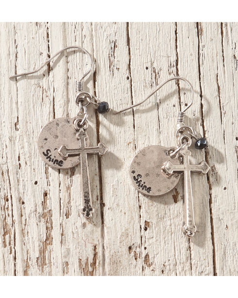 Shyanne Cross Charm Earrings, Silver, hi-res