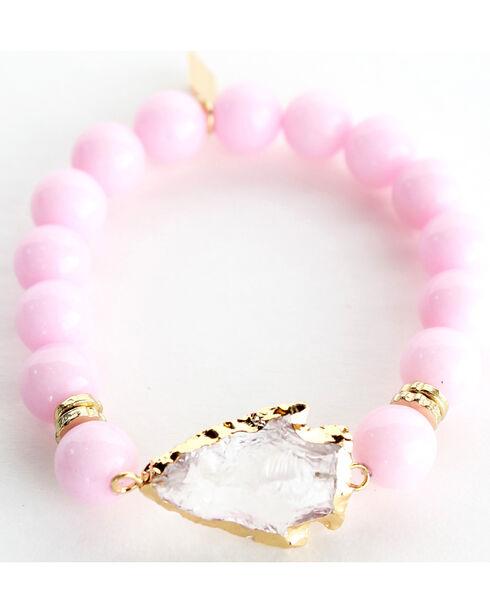 Everlasting Joy Jewelry Women's Bubblegum Pink Arrowhead Bracelet , Light Pink, hi-res