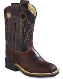 Old West Toddler Boys' Brown Western Cowboy Boots - Square Toe, , hi-res