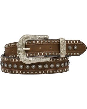 Angel Ranch Women's Gun Shell Concho Leather Belt, Brown, hi-res