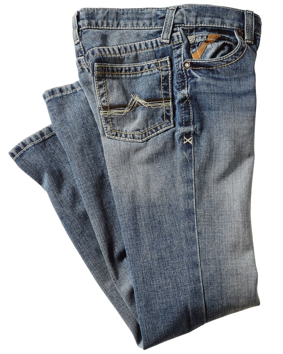 Ariat Boys' B4 Maxwell Low Rise Relaxed Fit Boot Cut Jeans, Blue, hi-res