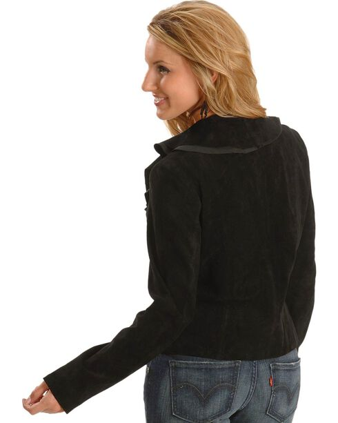Scully Women's Ruffle Front Boar Suede Jacket, Black, hi-res