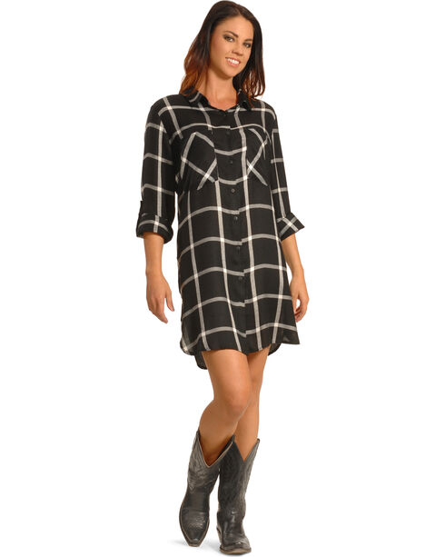 New Direction Women's Black Plaid Shirt Dress - Plus Sizes, Blk Plaid, hi-res