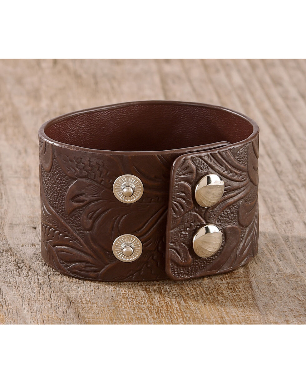 Shyanne Women's Texas Rose Tooled Leather Concho Cuff Bracelet, Rust Copper, hi-res