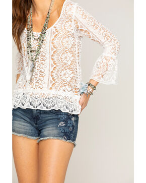 Shyanne® Women's Lace Bell Sleeve Top, Ivory, hi-res