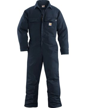 Carhartt Men's Flame Resistant Work Coveralls, Navy, hi-res