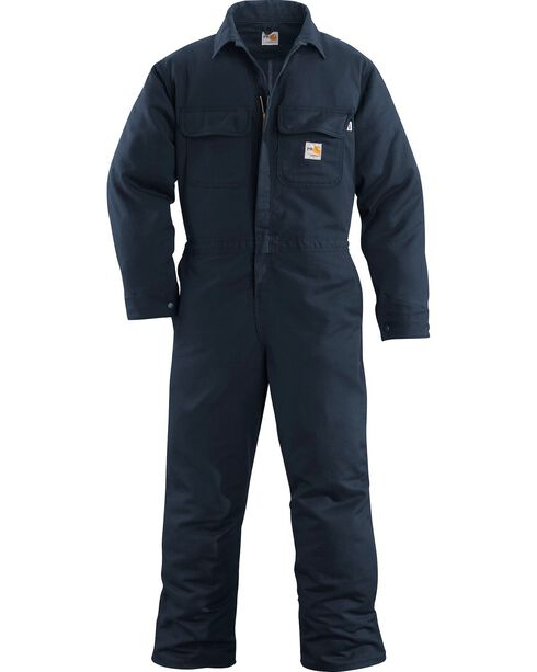 Carhartt Men's Flame Resistant Work Coveralls, Navy, hi-res