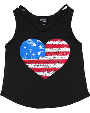 Ransom Girls' Heart Flag Tank Top , Black, hi-res