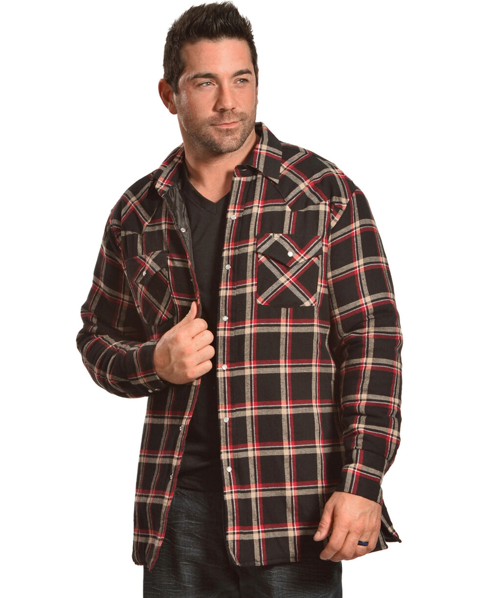 Ely Cattleman Men's Black Quilted Flannel Shirt Jacket - Tall , Black, hi-res