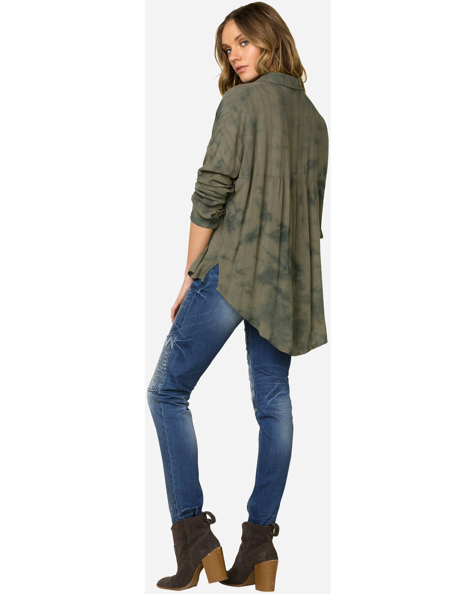 Miss Me Tie-Dye Hi-Lo Long Sleeve Shirt, Olive, hi-res