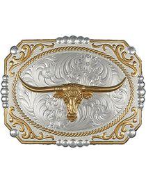 Montana Silversmiths Dual-Tone Cowboy Cameo Longhorn Buckle, , hi-res