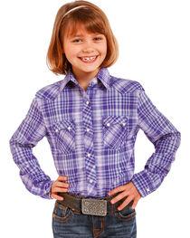 Panhandle Girls' Purple Cactus Plaid Shirt , , hi-res
