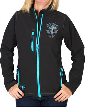 Cowgirl Hardware Women's Rhinestone Cross Jacket, Black, hi-res