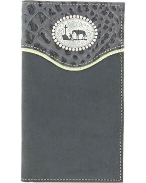 Nocona Belt Co Men's Christian Cowboy Rodeo Wallet and Checkbook Cover, Black, hi-res