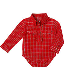 Wrangler Girl's Plaid Long Sleeve Western Onesie, Red, hi-res