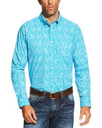 Ariat Men's Turquoise Livingston Print Shirt, , hi-res