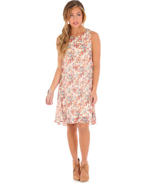 Wrangler Women's Floral Hi-Low Dress, Ivory, hi-res