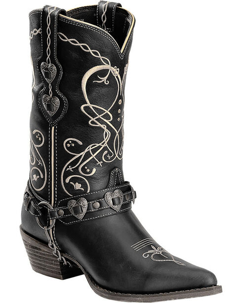 Durango Women's Heart Harness Western Boots - Pointed Toe, Black, hi-res