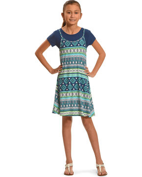 Derek Heart Navy Tank Swing Dress 2-Piece Set, Navy, hi-res