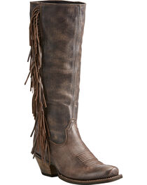 Ariat Women's Brown Leyton Tall Fringe Boots - Square Toe, , hi-res