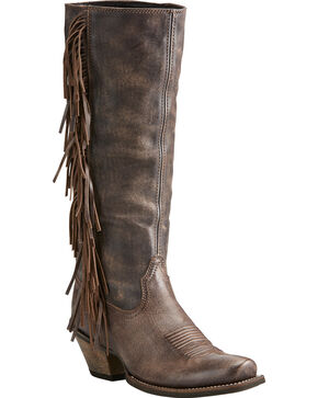 Ariat Women's Brown Leyton Tall Fringe Boots - Square Toe, Chocolate, hi-res