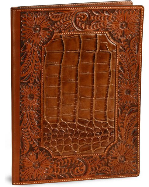 Floral Tooled Leather Portfolio, Tan, hi-res