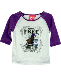 Cowgirl Hardware Girls' Ride Free Turn 3 Raglan T-shirt, , hi-res