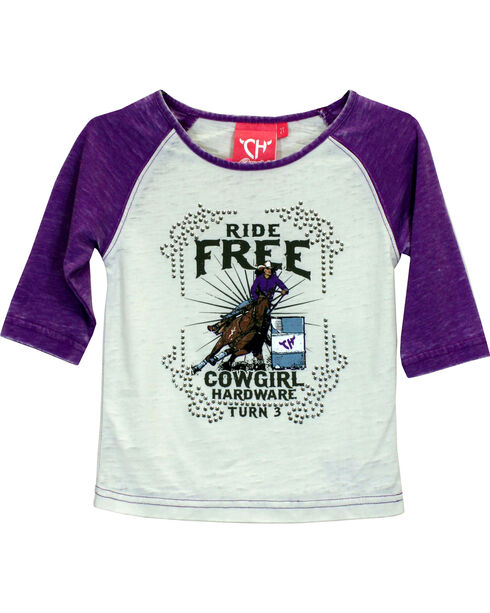 Cowgirl Hardware Girls' Ride Free Turn 3 Raglan T-shirt, Purple, hi-res