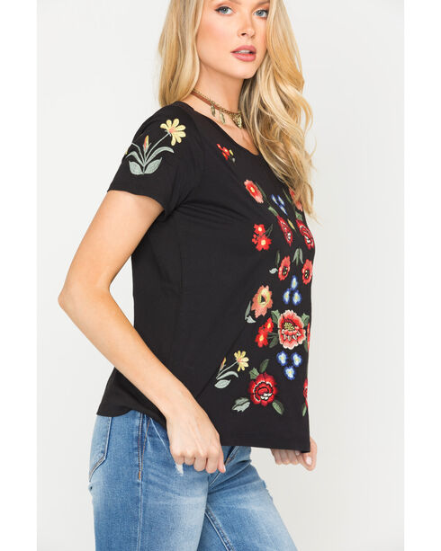 Miss Me Women's Black Floral Embroidered Top , Black, hi-res