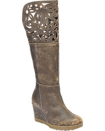 Circle G by Corral Women's Tall Cutout Collar Wedge Western Boots, , hi-res