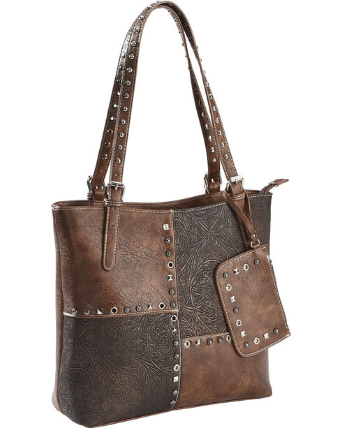 Accessories Plus Women's Patchwork 3-in-1 Tote and Small Crossbody Bag, Brown, hi-res