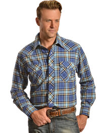 Wrangler Men's Blue Plaid Flannel Shirt, , hi-res