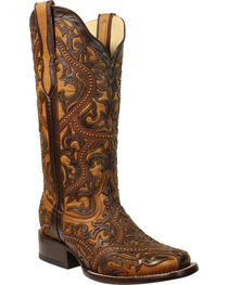 Corral Women's Brown Full Overlay Studs Cowgirl Boots - Square Toe, , hi-res
