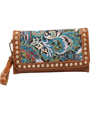 Blazin' Roxx Women's Quilted Paisley Wallet, Turquoise, hi-res