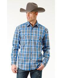 Roper Men's Crystal Blue Plaid Long Sleeve Button Down Shirt, , hi-res