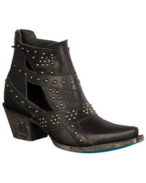 Lane Women's Black Studs & Straps Fashion Boots - Snip Toe , , hi-res