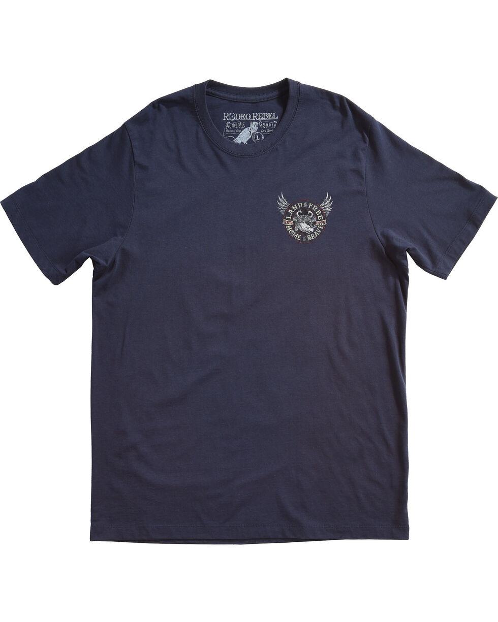 Rodeo Rebel Men's Land of the Free Short Sleeve T-Shirt, Blue, hi-res