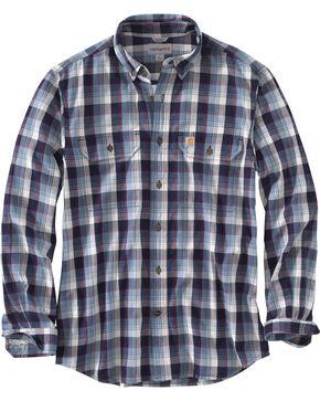 Carhartt Men's Blue Fort Plaid Long-Sleeve Shirt - Tall , Steel Blue, hi-res