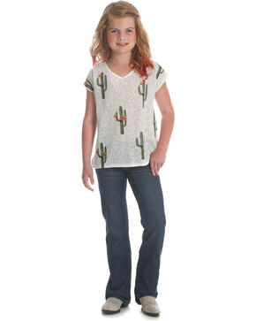 Wrangler Girls' Cream Cactus Print Top , Cream, hi-res