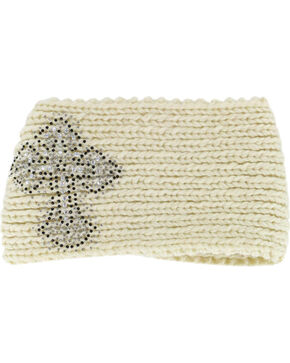 Shyanne® Women's Cross Studded Ear Warmer, Cream, hi-res