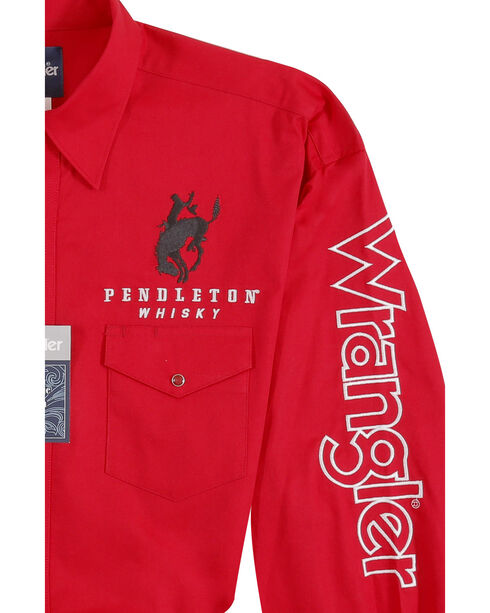 Wrangler Men's Red Pendleton Wester Logo Long Sleeve Shirt - Big and Tall , Red, hi-res